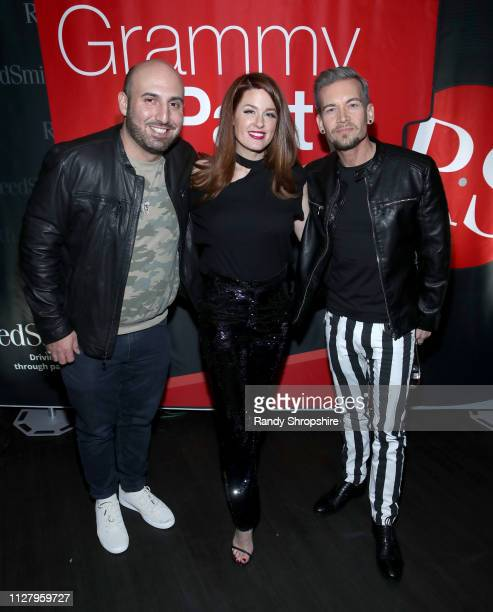 Josh Klein Hilary Roberts and Damon Sharpe attend Reed Smith Grammy Party at Nightingale Plaza on February 06 2019 in Los Angeles California