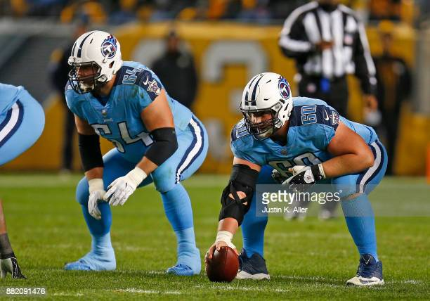 Josh Kline of the Tennessee Titans and Ben Jones of the Tennessee Titans in action against the Pittsburgh Steelers on November 16 2017 at Heinz Field...