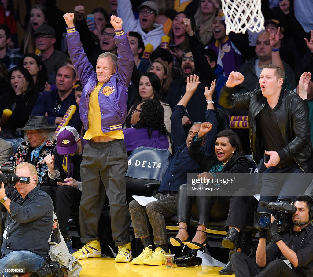 Josh Klinghoffer, Flea, Avu Chokalingam and Mindy Kaling attend a basketball game between the Utah Jazz and the Los Angeles Lakers at Staples Center on December 27, 2016 in Los Angeles, California.