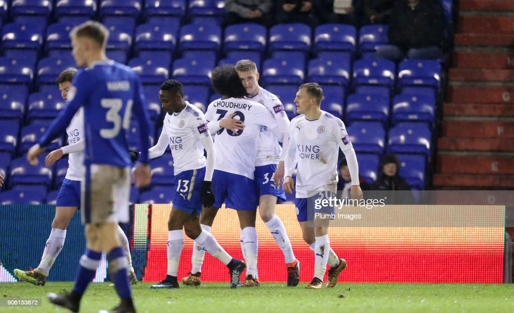 Josh Knight of Leicester City celebrates after scoring to make it 0-1 during the Checkatrade Trophy tie between Oldham Athletic and Leicester City at Boundary Park, on January 17th, 2018 in Oldham, United Kingdom