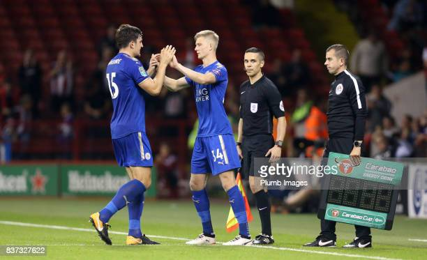 Josh Knight of Leicester City comes on to make his first team debut during the Carabao Cup Second Round tie between Sheffield United and Leicester...