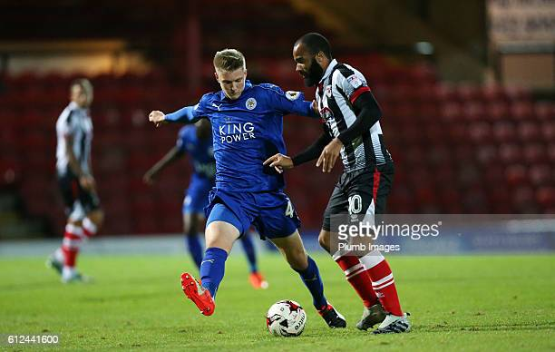 Josh Knight of Leicester City with Dominic Vose of Grimsby Town during the checkatrade Trophy match between Grimsby Town and Leicester City at...