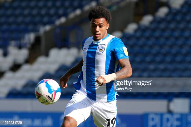 Josh Koroma of Huddersfield Town during the Sky Bet Championship match between Huddersfield Town and Norwich City at John Smith's Stadium on...