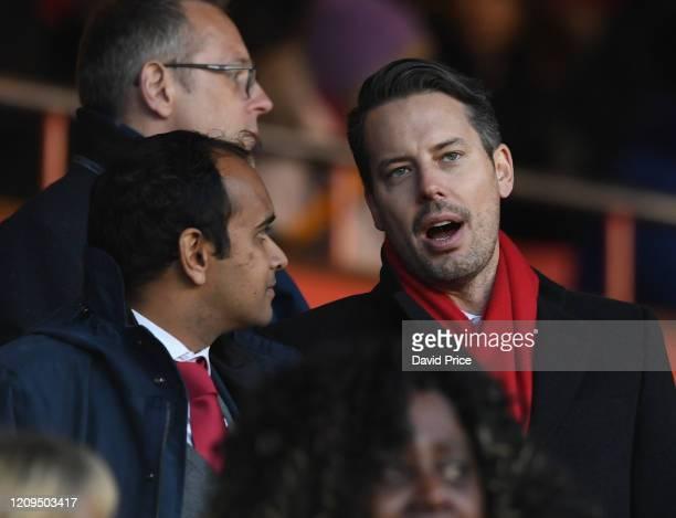 Josh Kroenke Arsenal Director and Vinai Venkatesham the Arsenal CEO before the FA Women's Continental League Cup Final Chelsea FC Women and Arsenal...