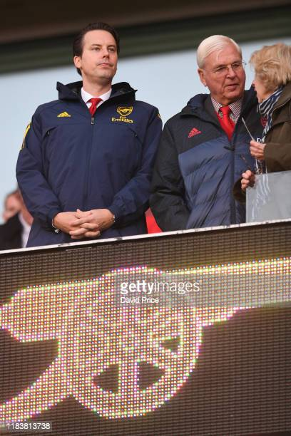 Josh Kroenke Arsenal Director with Arsenal Chairman Sir Chips Keswick before the Premier League match between Arsenal FC and Crystal Palace at...