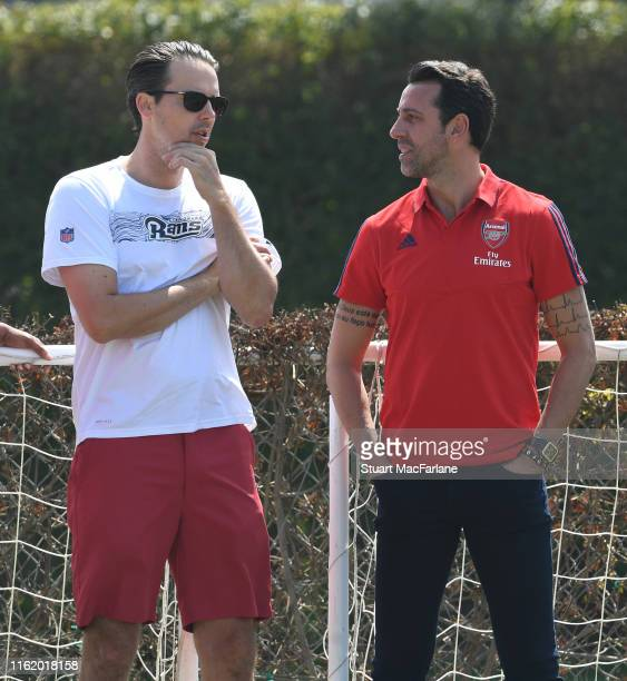 Josh Kroenke of KSE with Arsenal Technical Director Edu during a training session at the Loyola Marymount University on July 14 2019 in Los Angeles...
