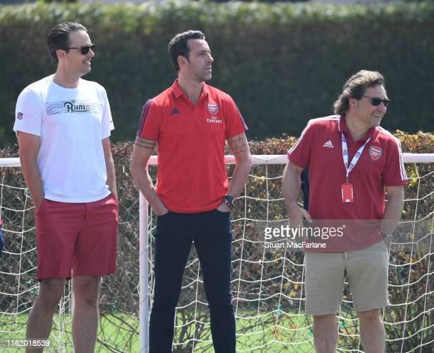 Josh Kroenke of KSE with Technical Director Edu and Head of Football Relations Raul Sanllehi during a training session at the Loyola Marymount...