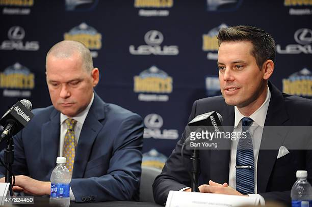Josh Kroenke President and Govenor of the Denver Nuggets intoduces Mike Malone the new head coach of the Denver nuggets at a press conference on June...