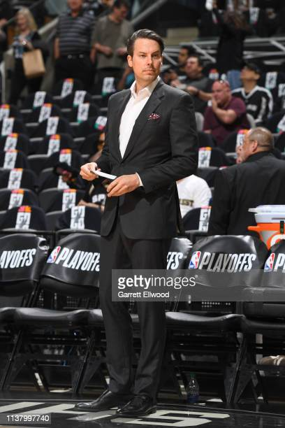 Josh Kroenke President of the Denver Nuggets attends Game Three of Round One against the San Antonio Spurs during the 2019 NBA Playoffs on April 18...