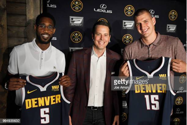 Josh Kroenke vice chairman of Kroenke Sports and Entertainment and the Nuggets announce new contracts for Will Barton and Nikola Jokic at the Pepsi...