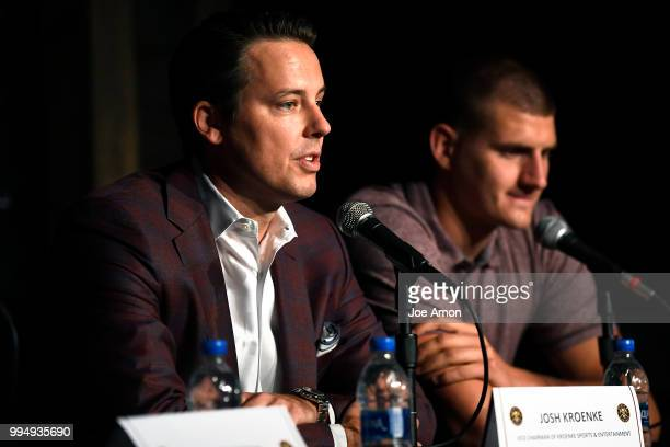Josh Kroenke vice chairman of Kroenke Sports and Entertainment speaks as the Nuggets announce new contracts for Will Barton and Nikola Jokic at the...