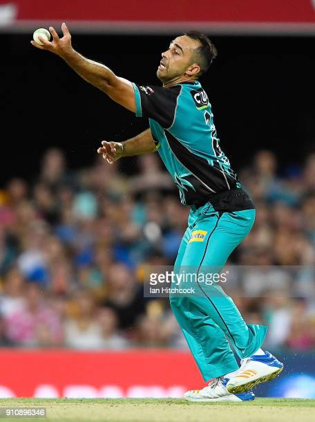 Josh Lalor of the Heat takes a catch to dimiss Matt Short of the Renegades during the Big Bash League match between the Brisbane Heat and the...