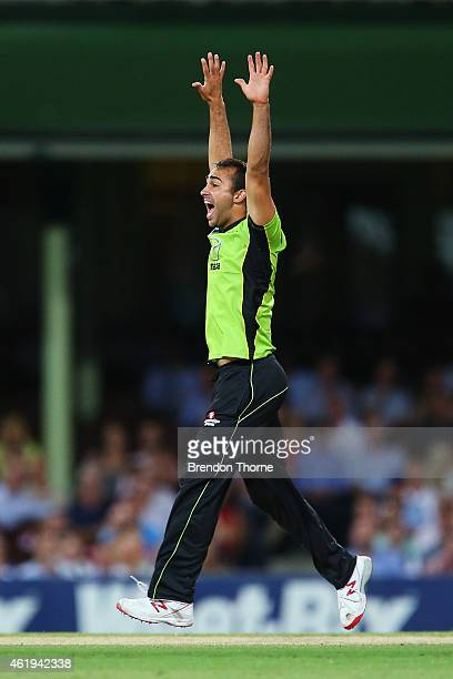 Josh Lalor of the Thunder appeals and claims the wicket of Michael Lumb of the Sixers during the Big Bash League match between the Sydney Sixers and...