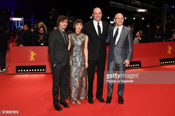 Josh Lambert and Yvonne Lambert of 'The Octopus Project' and David Zellner and Nathan Zellner attend the 'Damsel' premiere during the 68th Berlinale...