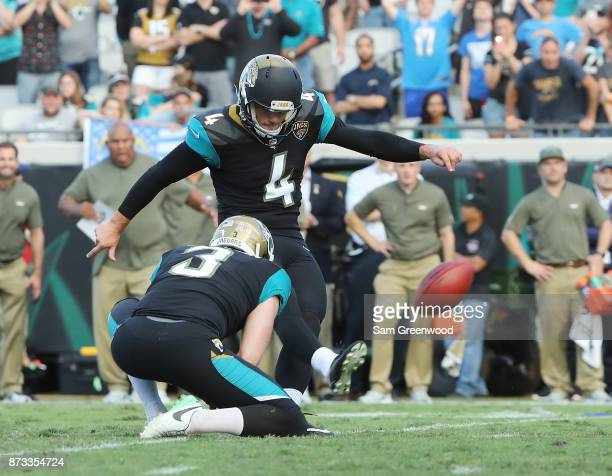 Josh Lambo of the Jacksonville Jaguars connects on a 30yard field goal in overtime as the Jacksonville Jaguars defeated the Los Angeles Chargers 2017...