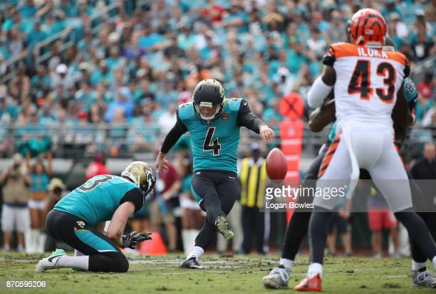 Josh Lambo of the Jacksonville Jaguars connects on a 56yard field goal in the first half of their game against the Cincinnati Bengals at EverBank...