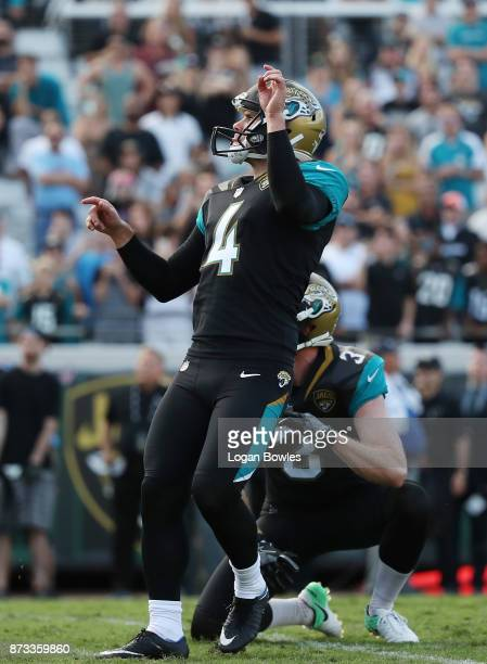 Josh Lambo of the Jacksonville Jaguars watches a 30yard field goal in overtime as the Jacksonville Jaguars defeated the Los Angeles Chargers 2017 at...