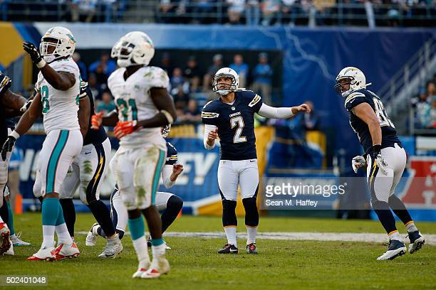 Josh Lambo of the San Diego Chargers watches a field goal during a game against the Miami Dolphins at Qualcomm Stadium on December 20 2015 in San...