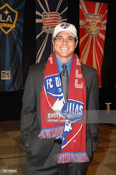 Josh Lambo poses for photo after being selected eighth by FC Dallas in the MLS Super Draft on January 18 2008 at the Baltimore Convention Center in...