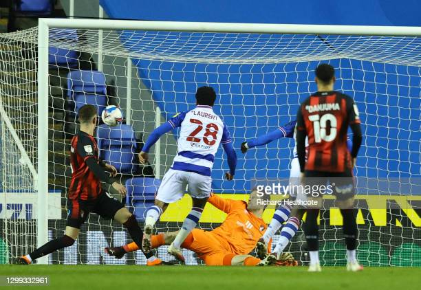 Josh Laurent of Reading scores their teams first goal during the Sky Bet Championship match between Reading and AFC Bournemouth at Madejski Stadium...