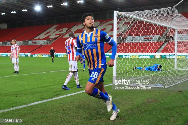 Josh Laurent of Shrewsbury celebrates after scoring their 3rd goal during the FA Cup Third Round Replay match between Stoke City and Shrewsbury Town...