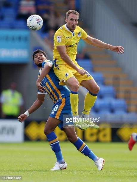 Josh Laurent of Shrewsbury Town and Alex Rodman of Bristol Rovers during the Sky Bet League One match between Shrewsbury Town and Bristol Rovers at...