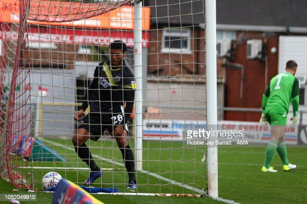 Josh Laurent of Shrewsbury Town celebrates after scoring a goal to make it 21 during the Sky Bet League One match between Fleetwood Town and...