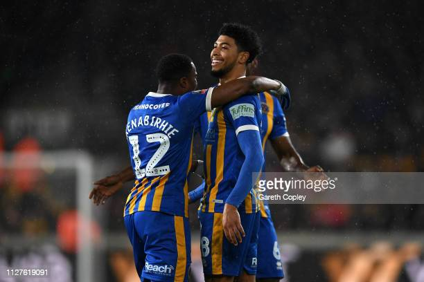 Josh Laurent of Shrewsbury Town celebrates with his team mates after scoring his side's second goal during the FA Cup Fourth Round Replay match...