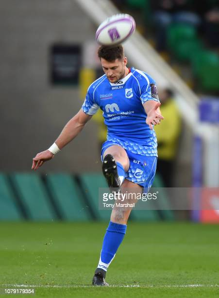 Josh Lewis of Dragons kicks during the Challenge Cup match between Northampton Saints and Dragons at Franklin's Gardens on December 08 2018 in...