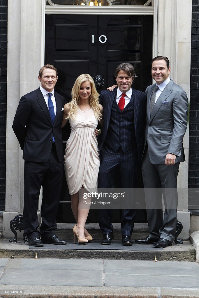 L-R Josh Lewsey, Helen Skelton, John Bishop and David Walliams attend a tea reception to congratulate Sport Relief 2012 celebrity challengers at No. 10 Downing Street on March 30, 2012 in London, England.