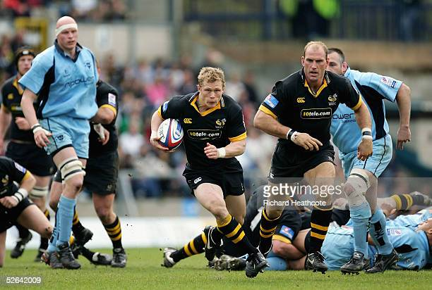 Josh Lewsey of Wasps storms through to score the first try during the Zurich Premiership match between London Wasps and Worcester Warriors, at the...