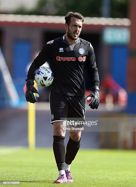 Josh Lillis of Rochdale looks on during the pre season friendly match between Rochdale and Huddersfield Town at Spotland on July 18 2015 in Rochdale...