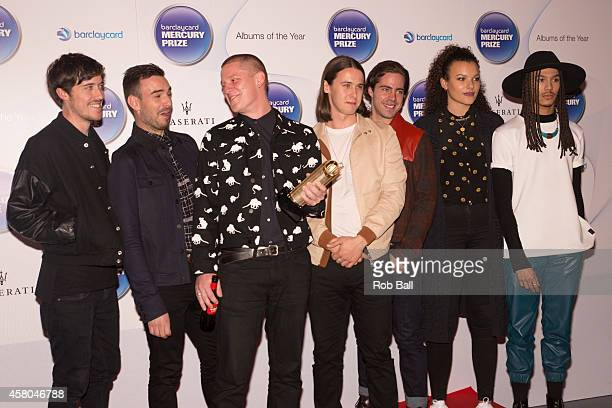 Josh LloydWatson Tom McFarland Fraser MacColl George Day Dominic Whalley Andro Cowperthwaite and Rudi Salmon from Jungle attend the Barclaycard...
