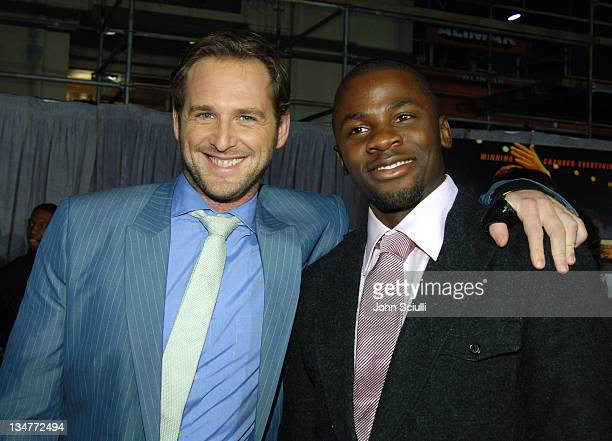 Josh Lucas and Derek Luke during 'Glory Road' World Premiere Red Carpet at The Pantages Theater in Los Angeles California United States