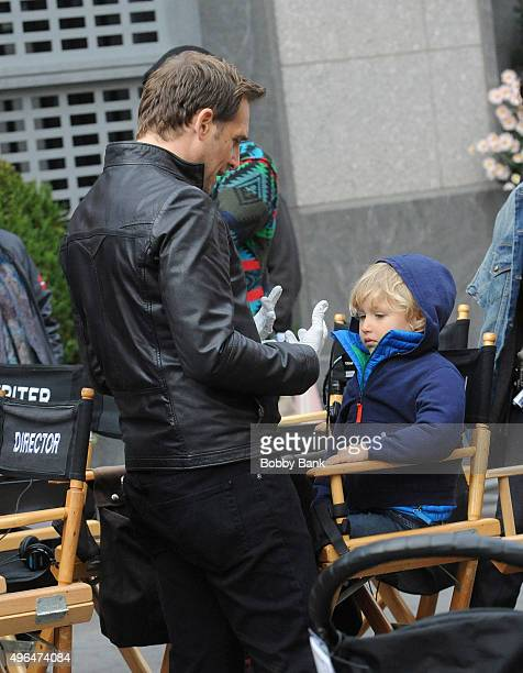 Josh Lucas and his son Noah Rev Maurer on the set of Mysteries of Laura on November 9 2015 in New York City