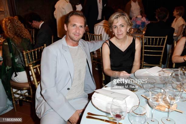 Josh Lucas and Micaela Le Divelec Lemmi attend the Salvatore Ferragamo Private Dinner at Palazzo Vecchio during Pitti Immagine Uomo 96 on June 11,...