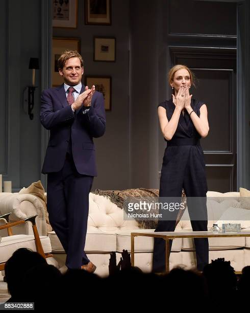 Josh Lucas and Uma Thurman attend the curtain call for 'The Parisian Woman' at The Hudson Theatre on November 30 2017 in New York City