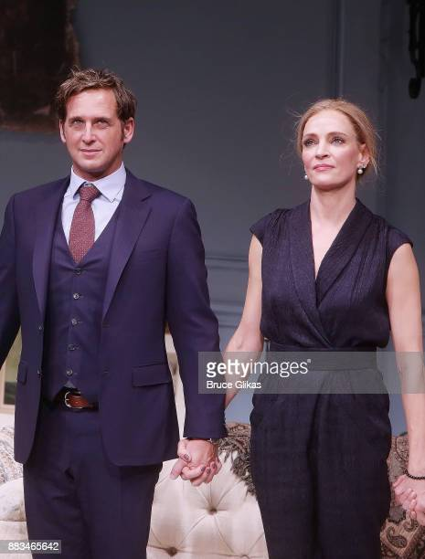Josh Lucas and Uma Thurman during The Opening Night curtain call for 'The Parisian Woman' on Broadway at The Hudson Theatre on November 30 2017 in...