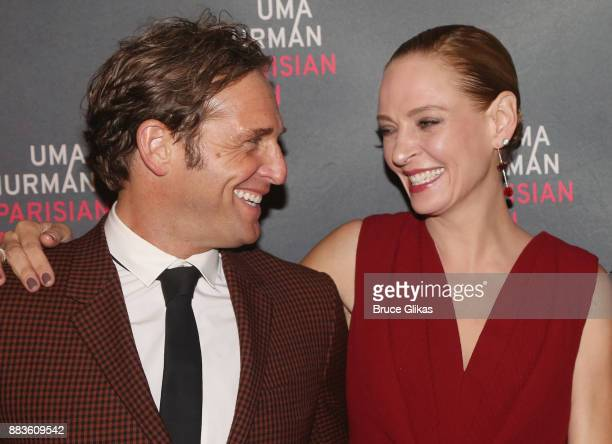 Josh Lucas and Uma Thurman pose at The Opening Night Party for 'The Parisian Woman' on Broadway at Sardis on November 30 2017 in New York City