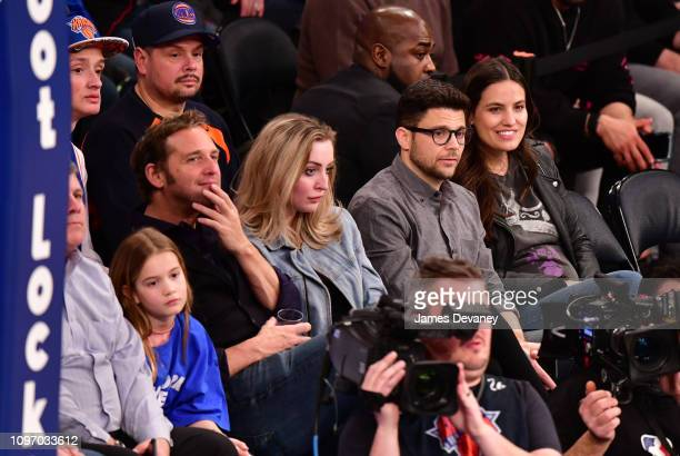 Josh Lucas guest Jerry Ferrara and Breanne Racano attend Toronto Raptors v New York Knicks game at Madison Square Garden on February 9 2019 in New...