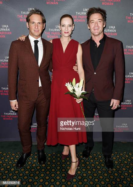 Josh Lucas Uma Thurman and Marton Csokas attend the broadway opening night of 'The Parisian Woman' at The Hudson Theatre on November 30 2017 in New...