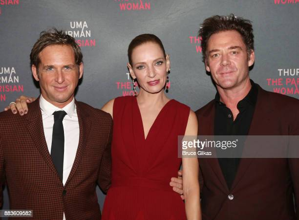 Josh Lucas Uma Thurman and Marton Csokas pose at The Opening Night Party for 'The Parisian Woman' on Broadway at Sardis on November 30 2017 in New...