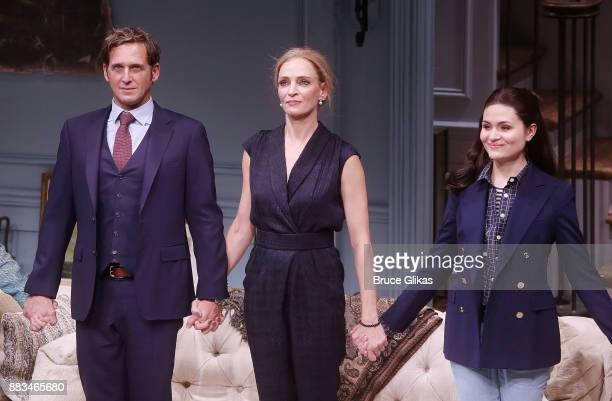 Josh Lucas Uma Thurman and Phillipa Soo during The Opening Night curtain call for 'The Parisian Woman' on Broadway at The Hudson Theatre on November...