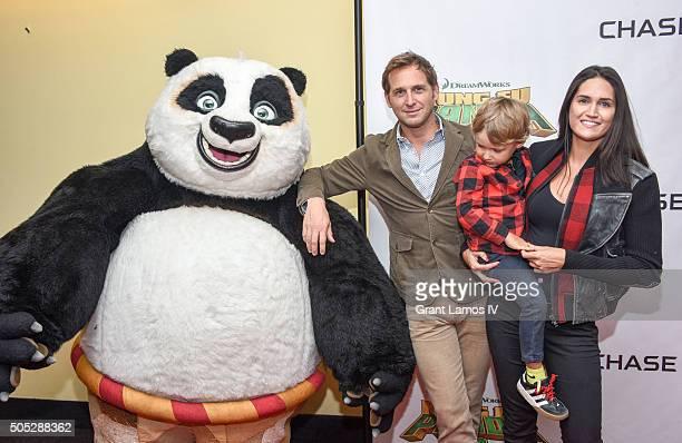 Josh Lucas with Jessica Ciencin Henriquez and their son Noah Rev Maurer attend the Kung Fu Panda 3 New York screening at AMC Loews Kips Bay 15...