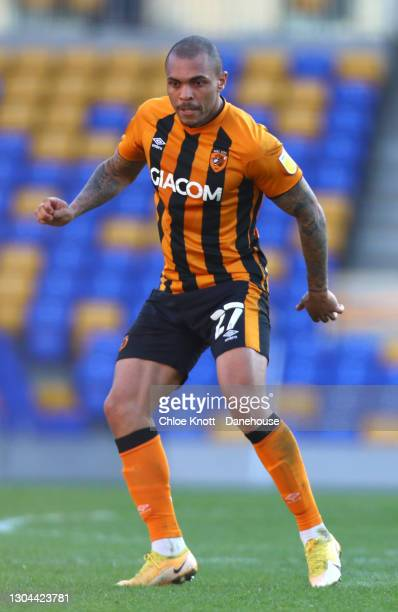 Josh Mageniss of Hull City during the Sky Bet League One match between AFC Wimbledon and Hull City at Plough Lane on February 27, 2021 in Wimbledon,...