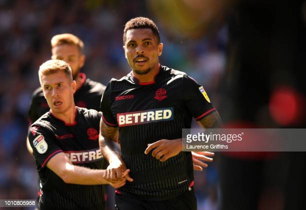 Josh Magennis of Bolton Wanderers celebrates after scoring his team's first goal during the Sky Bet Championship match between West Bromwich Albion...