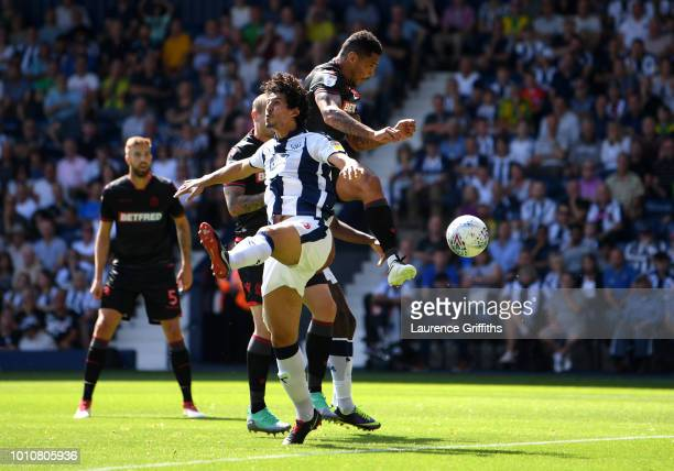 Josh Magennis of Bolton Wanderers scores his team's first goal during the Sky Bet Championship match between West Bromwich Albion and Bolton...