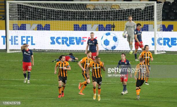Josh Magennis of Hull celebrates after he scores their second goal during the Sky Bet League One match between Hull City and Sunderland at the Kcom...
