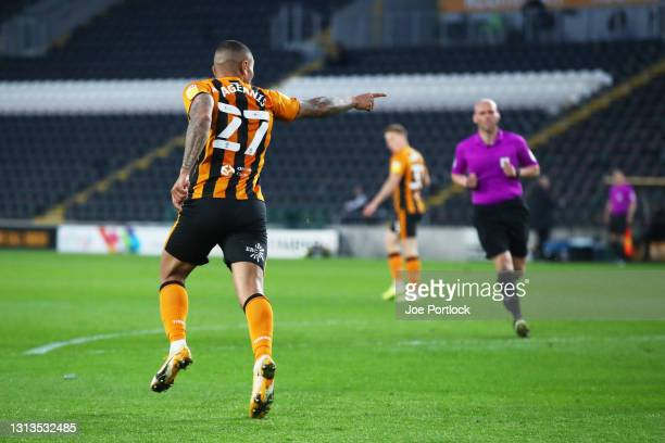 Josh Magennis of Hull City celebrates scoring during the Sky Bet League One match between Hull City and Sunderland at KCOM Stadium on April 20, 2021...