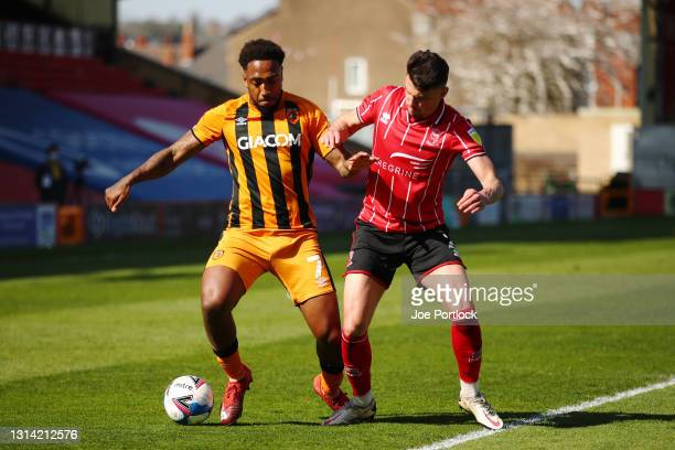 Josh Magennis of Hull City during the Sky Bet League One match between Lincoln City and Hull City at Sincil Bank Stadium on April 24, 2021 in...